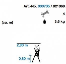 Merdevine kućne aluminijumske 4 stepenika Corda Krause 150kg
