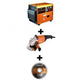 Dizel agregat VGD 5500-S + ugaona električna brusilica VPL AG 2450W +  brusna ploča GW 230x6mm 5 kom.  VILLAGER