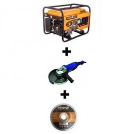 Agregat za struju VGP 2500 S Villager + Ugaona brusilica 2000W AG-230 AGM + Brusna ploča GW 230x6mm 5 kom. Villager