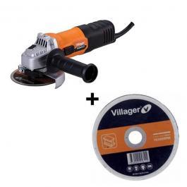 Ugaona brusilica 115mm VLN453 + 10 reznih ploča CW 115x1,2mm Villager