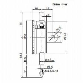 Komparater - merni sat sa zakačkom 2308-10A 10mm INSIZE