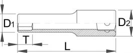 "Ključ nasadni dugi, prihvat 3/8"" 238/1L6p 12mm UNIOR"