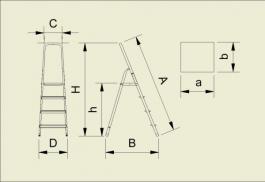 Aluminijumske merdevine 5 stepenica 103cm ALVE