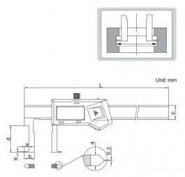 Pomično-digitalno merilo - šubler za unutrašnje žljebove 150mm INSIZE