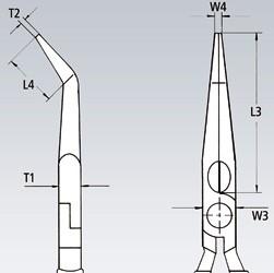 Klešta špicasta kriva 200 mm 1000V 26 27 200 KNIPEX